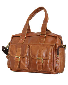 "Fino Unisex Genuine Leather 15"" Messenger Bag - Brown"