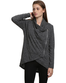 Nucleus Waiting Room Cardigan Charcoal Grey