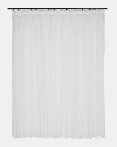 Design Collection Plain Voile 250 x 218 Taped Curtains White