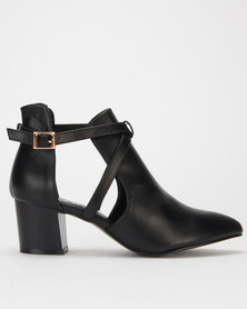Jada Cut Out Ankle Boots Black