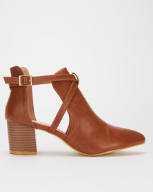 Jada Cut Out Ankle Boots Brown