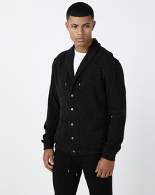 non-european® Shawl Collar Cardigan Charcoal Bucle