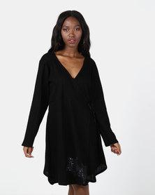 UB Creative Star Corded Wrap Dress Black