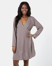 UB Creative Star Corded Wrap Dress Taupe