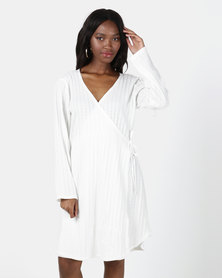 UB Creative Star Corded Wrap Dress White