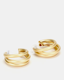 Lily & Rose 3 Layer Open Hoop Earrings Gold