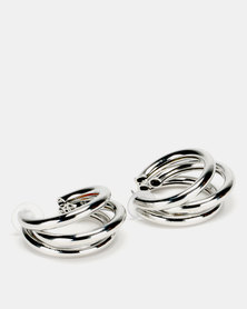 Lily & Rose 3 Layer Open Hoop Earrings Silver