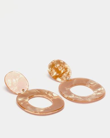 Lily & Rose Resin  Open Drop Earrings Gold