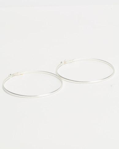 Lily & Rose Skinny Hoop Earrings Silver