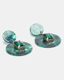 Lily & Rose Jade Marble Drop Earrings Green