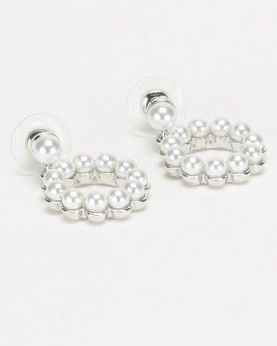 Lily & Rose Faux Pearl Circle Drop Earrings Silver