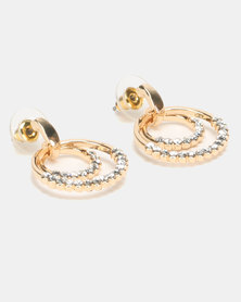 Lily & Rose Glam Diamante Drop Earrings Gold