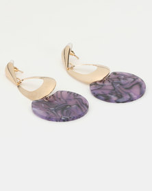 Lily & Rose Abstract Resin Drop Earrings Purple