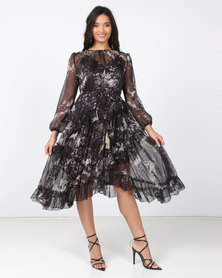Fred Tsuya Black Chiffon Floral Dress
