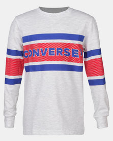 Converse CNVB 2 Tone Graphic Strip Longsleeve Tee Birch Heather