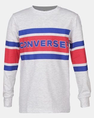 Converse CNVB 2 Tone Graphic Strip Longsleeve Tee Birch Heather