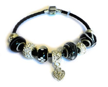 Urban Charm Gemmabella Leather Charm Bracelet -Black