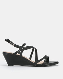 SOA Bedazzle Strappy Wedge Sandals Black