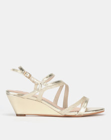 SOA Bedazzle Strappy Wedge Sandals Gold