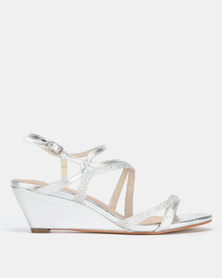 SOA Bedazzle Strappy Wedge Sandals Silver