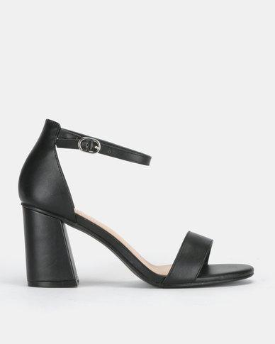 SOA Christa Block Heel Ankle-Strap Sandals Black
