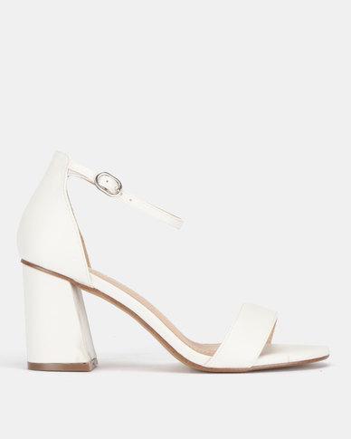 SOA Christa Block Heel Ankle-Strap Sandals White