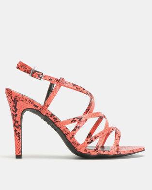 New Look Sush Snake Strappy Stiletto Heels Bright Orange