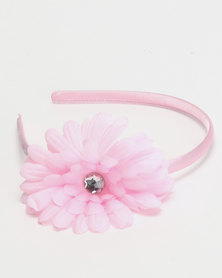 Jewels and Lace Flower Aliceband Pink