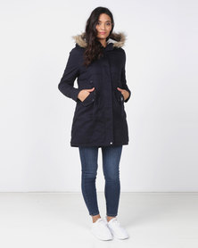 Utopia Navy Cotton Sherpa Lined Parka