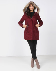 Utopia Burgundy Cotton Sherpa Lined Parka