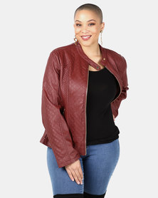 Utopia Burgundy PU Biker Jacket