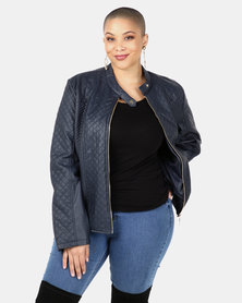 Utopia Navy PU Biker Jacket