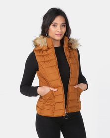 Utopia Rust Sleeveless Puffer With Faux Fur Trim