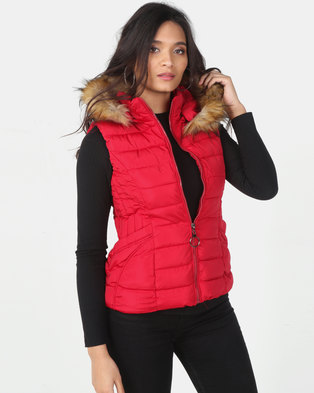 Utopia Red Sleeveless Puffer With Faux Fur Trim