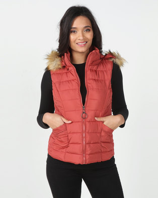 Utopia Coral Sleeveless Puffer With Faux Fur Trim