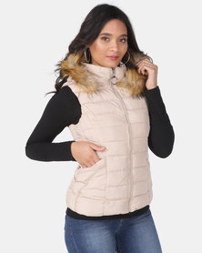 Utopia Stone Sleeveless Puffer With Faux Fur Trim