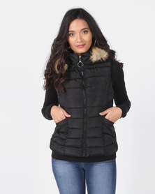 Utopia Sleeveless Puffer With Faux Fur Trim Black