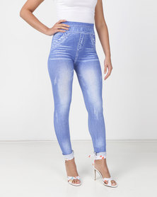 Utopia Denim Look Leggings Light Blue