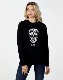 Phoenix & the Llama Sugar Skull T-Shirt Relaxed Fit Long Sleeve Black Unisex