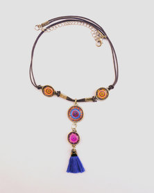 Abarootchi Mandala-style Thong necklace - Blue, orange & pink