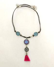 Abarootchi Mandala-style Thong necklace - Blue & pink
