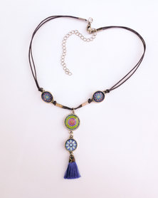 Abarootchi Mandala-style Thong necklace - Blue & green