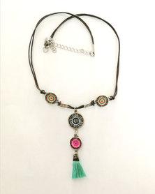 Abarootchi Mandala-style Thong necklace - Black, Pink & Light green
