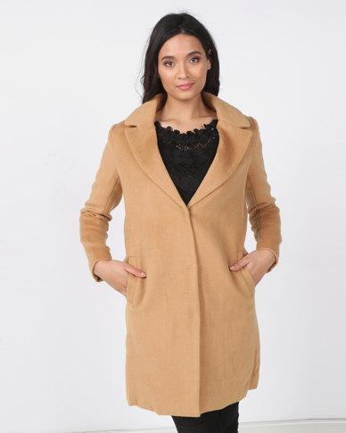 Utopia Melton Coat with Clip Button Camel