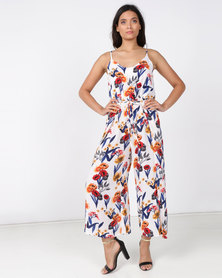 Revenge Multi Printed Wide Leg Jumpsuit White