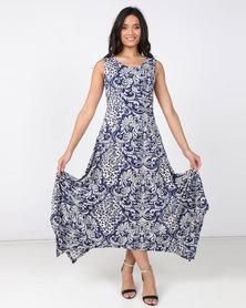 Revenge Handkerchief Maxi Dress Blue