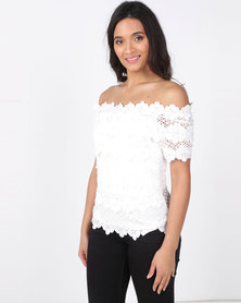 Revenge Lace Detail Top White