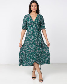 Revenge Multi Wrap Dress Green