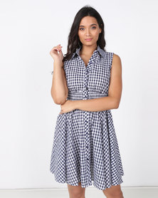 Revenge Gingham Dress Navy/Cream