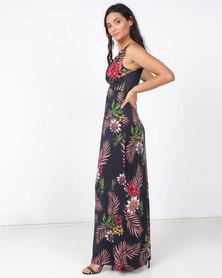 Revenge Flower Print Maxi Dress Multi